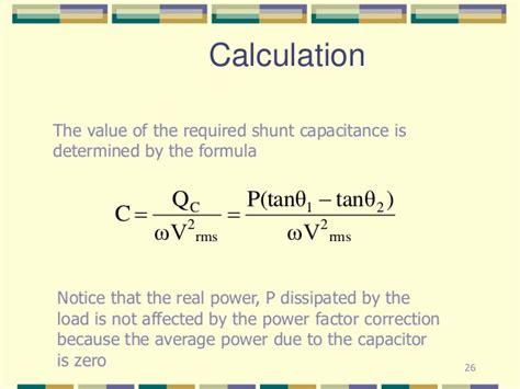 power factor correction capacitor calculator power factor