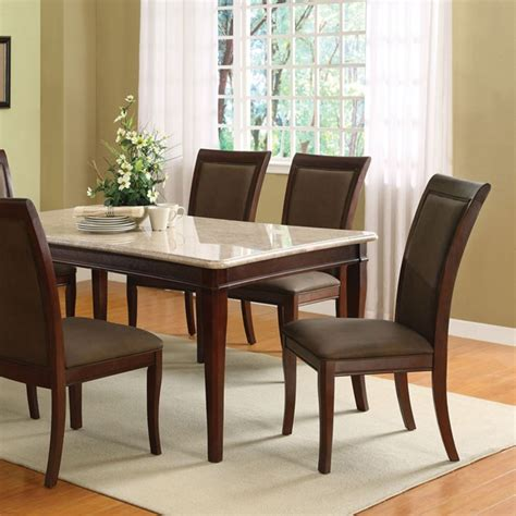 Dreamfurniture Com Britney White Marble Top Dining Table Set Marble Top Dining Table