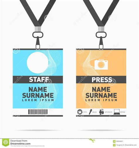 volunteer id card template security id card set vector design illustration vector