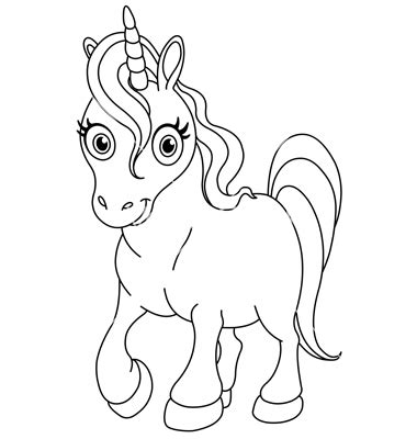 Unicorn Outline by Unicorn Outline Simple Coloring Pages