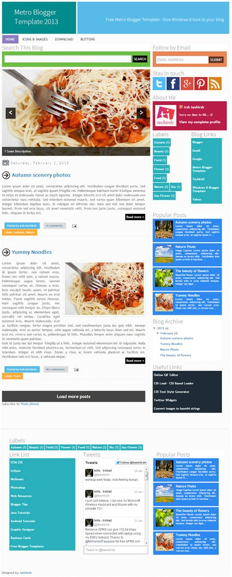 blogger pages metro blogger template 2013 free windows 8 inspired