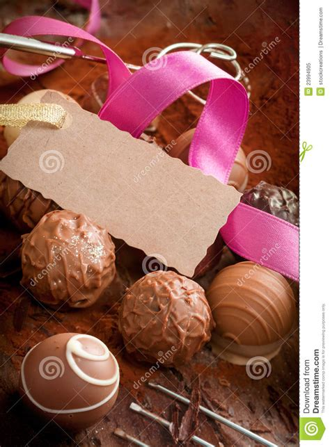 Gourmet Handmade Chocolates - gift of gourmet chocolates royalty free stock photo
