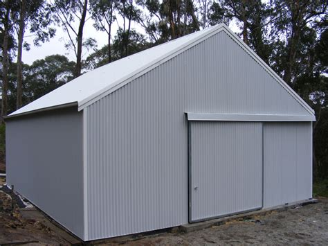 Single Car Garage Size Farm Shed With Sliding Door Fair Dinkum Sheds