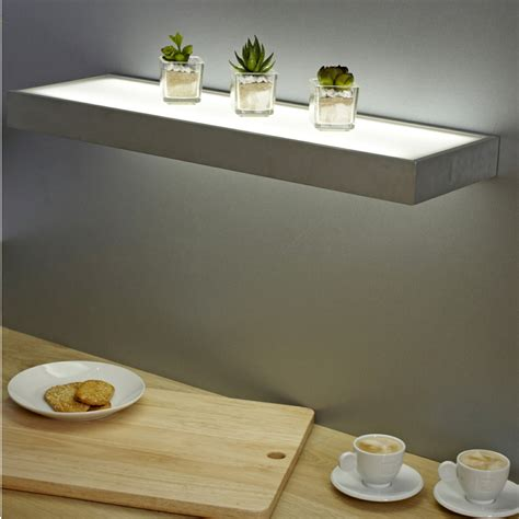 floating shelves with lights sirius 600mm floating box led lighting glass shelves
