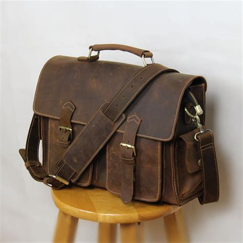 handmade vintage leather messenger bag leather briefcase