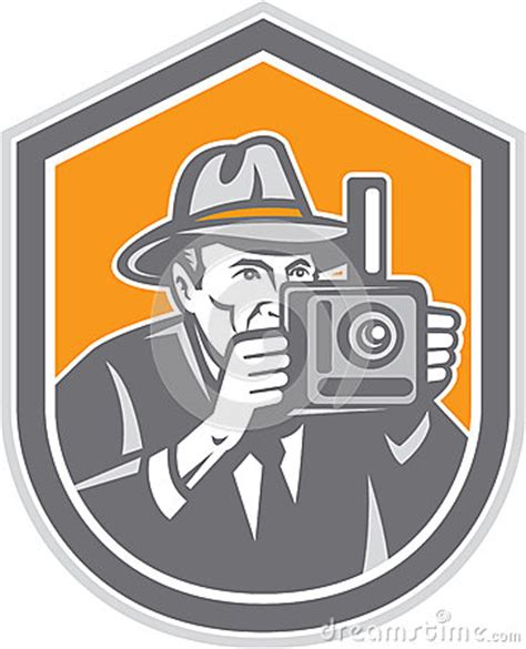 photographer vintage camera shield retro stock vector