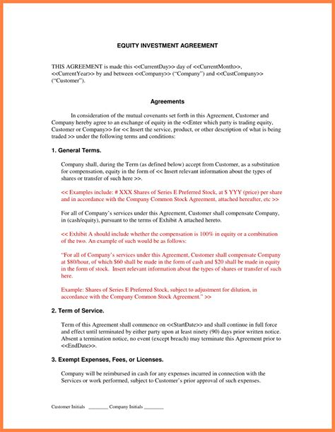 equity investment agreement template 4 investment contract marital settlements information