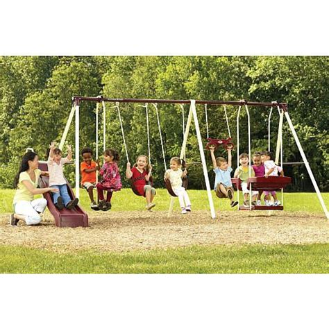 Newcastle 6 Leg Swing Set With Slide Flexible Flyer