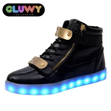 Idw058 White Led Light Size 14 5 light up shoes led black and gold cool mania