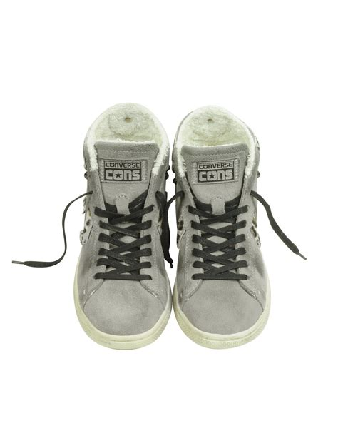 Converse Limited Edition Chair Print Shoe by Converse Cons Leopard Print Pro Leather Mid Suede In Gray