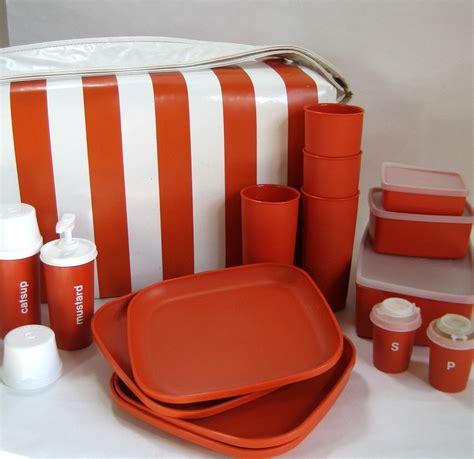Tupperware Picnic Set orange tupperware picnic cooler set 70s