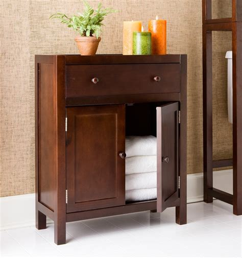 Wood Bathroom Storage Cabinets Other Corner Bathroom Cabinet And Storages Small Flower Vase And Framed Mirror