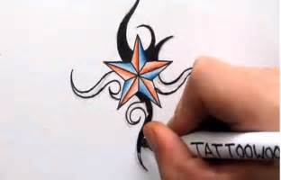 how to draw a nautical star shading in color and tribal