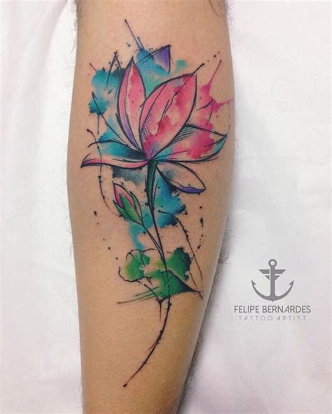 watercolor flower tattoo ideas best 25 watercolor lotus ideas on