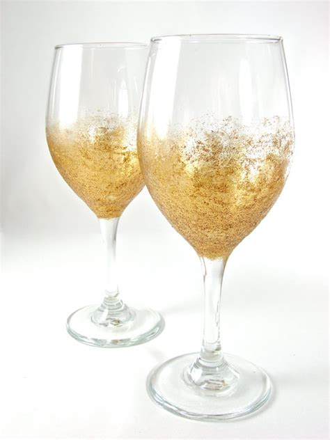 Specialized Wine Glasses Glitter Wine Glass Pair Sunburst Gold By Thelilliepad On Etsy