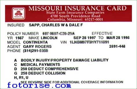 printable fake auto insurance card template fotorise com