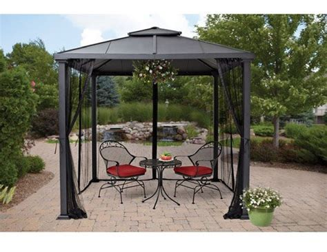 top gazebo metal frame canopy mosquito netting 8 x 8