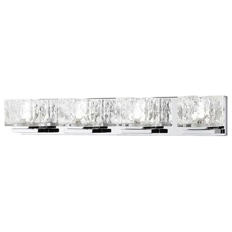glass cube light fixture 75 watt equivalent 4 light chrome integrated led vanity