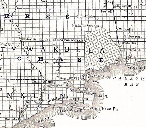 map of wakulla county florida map of wakulla county florida 1888
