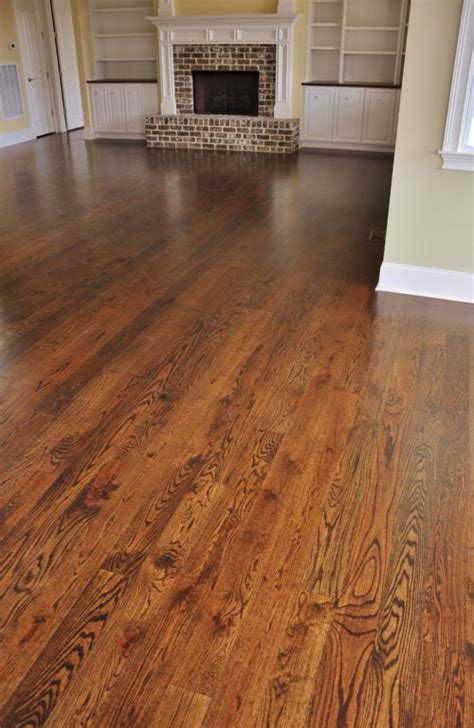 dark walnut stain on red oak floors   thinking about this