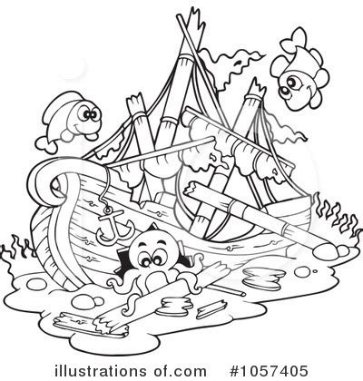 royalty free rf shipwreck clipart illustration by visekart stock sketch template - Sunken Pirate Ship Coloring Pages