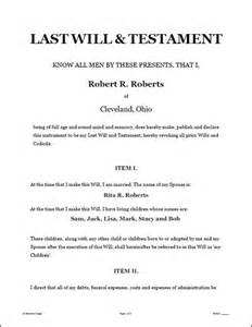 sle of a last will and testament template last will testament forms software standard
