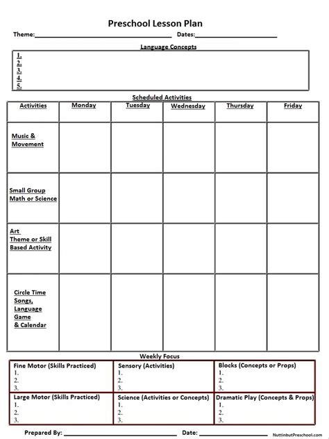 lesson plan template for preschool free daily blank lesson plans for teachers new calendar