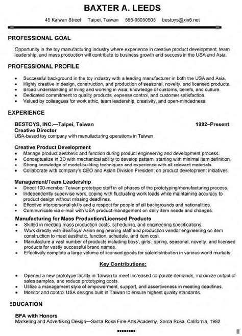 Director Resume Exles by Director Resume Cover Letter
