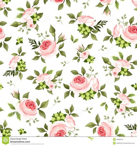 pattern flower english seamless pattern with pink roses and green leaves vector