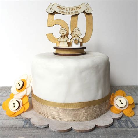 personalised 50th wedding anniversary cake topper by just toppers   notonthehighstreet.com