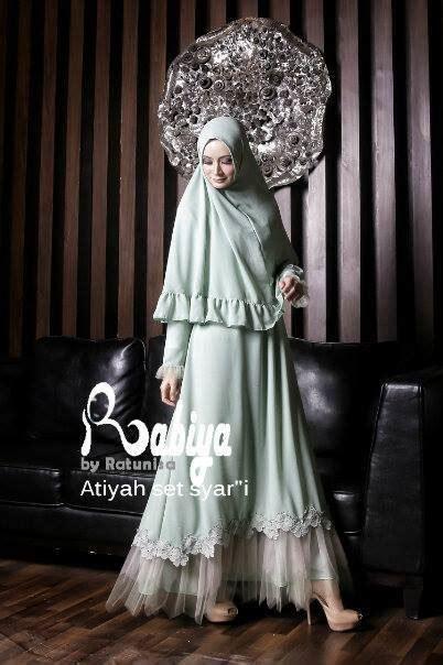 Gamis Syar I Almeda Mint baju muslim gamis modern 187 atiyah dress syari hijau mint