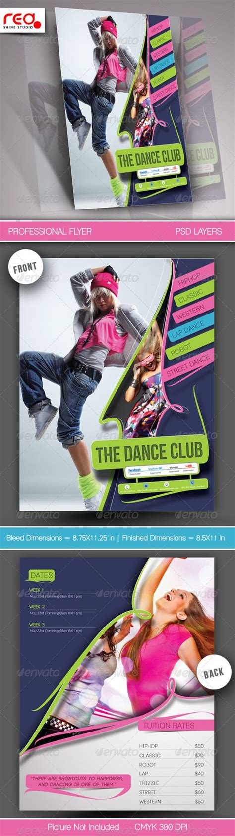 dance academy flyer poster template 2 texts the