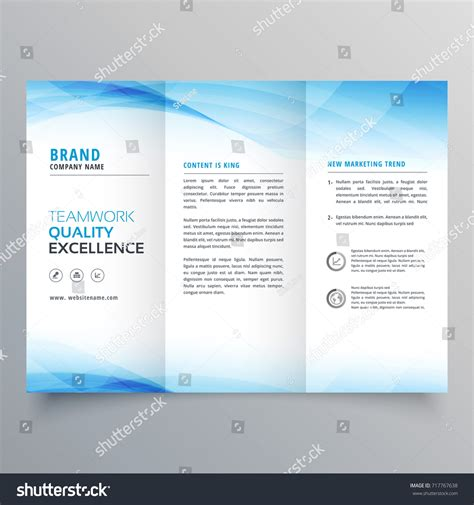 elegant blue business trifold brochure design stock vector