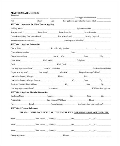 Apartment Credit Application Form Basic Application Forms