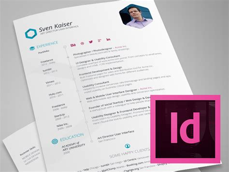 resume template indesign best free resume templates for designers