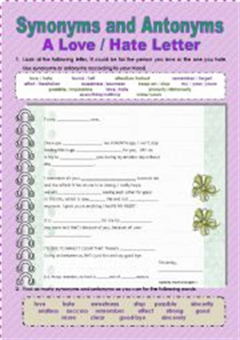 Letter Synonym Worksheets Synonyms And Antonyms Creative Letter