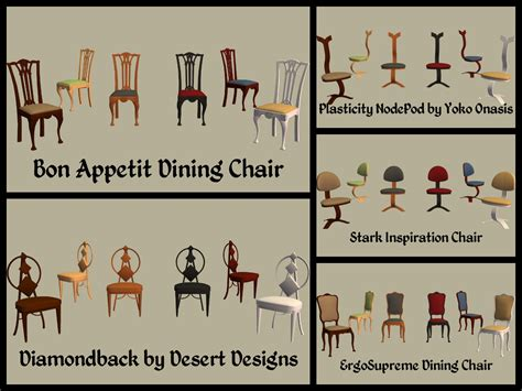 Chair Names by Mod The Sims Base Dining Chairs Part 3