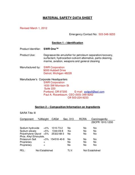 msds section 2 msds section 8 material safety data sheet