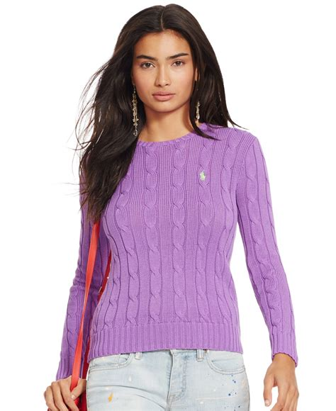 ralph womens cable knit jumper lyst polo ralph cable knit crewneck sweater in purple