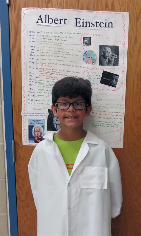 albert einstein biography research fourth graders present living wax museum