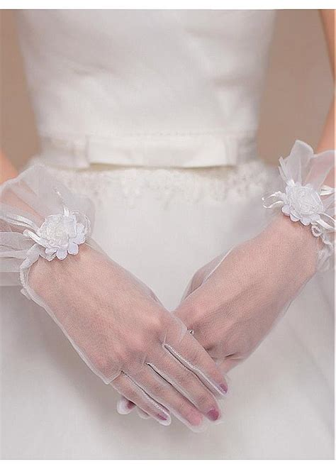 Handmade Gloves - buy discount in stock chic tulle wedding gloves with