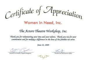 Certificate Need Letter News The Actors Theatre Workshop