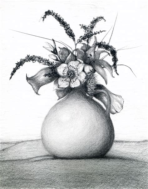 Pencil Drawing Flower Vase by Pics For Gt Pencil Drawings Of Flowers In A Vase