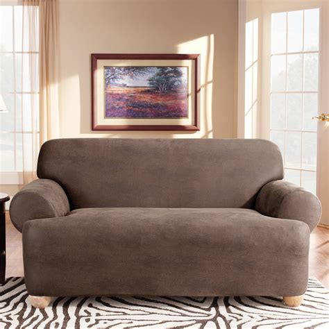 leather sofa cover sure fit stretch leather t cushion sofa slipcover at hayneedle
