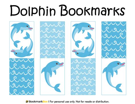 printable ocean bookmarks printable dolphin bookmarks