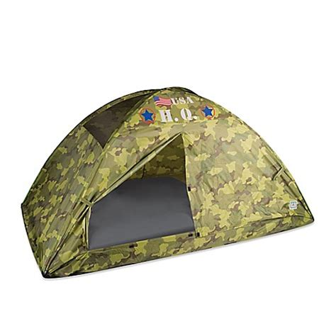 twin bed tents pacific play tents h q camo twin bed tent in green buybuybaby com