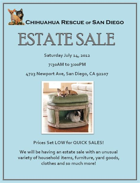 estate sale flyer chihuahua rescue of san diego