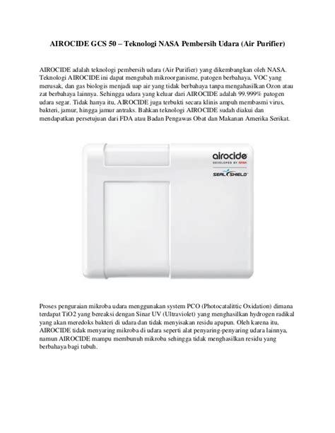 Pembersih Nasa Airocide Gcs 50 Pembersih Udara Air Purifier Dari