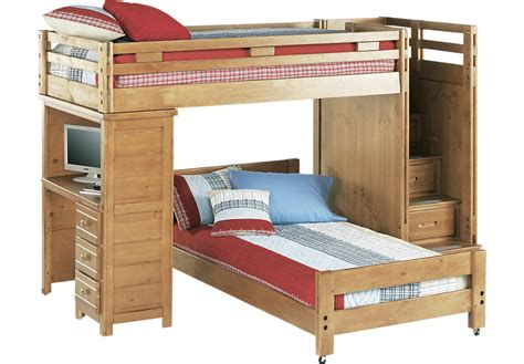 rooms to go mattress sale creekside taffy step bunk bed with desk beds light wood