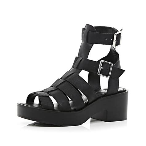 chunky gladiator sandals black chunky high leg gladiator sandals flat sandals
